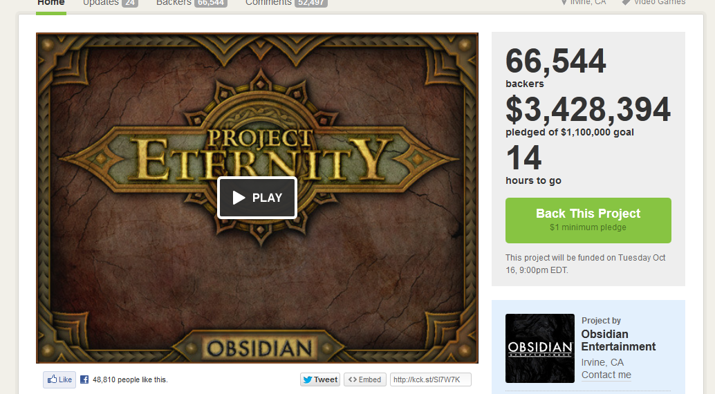 Project Eternity стала самой успешной игрой на Kickstarter - Изображение 1