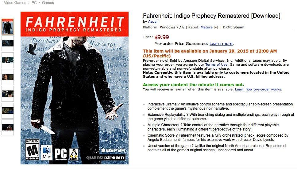 Fahrenheit: Indigo Prophecy Remastered — 29 января, $9.99, полная режиссерская версия - Изображение 1