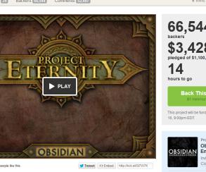 Project Eternity стала самой успешной игрой на Kickstarter